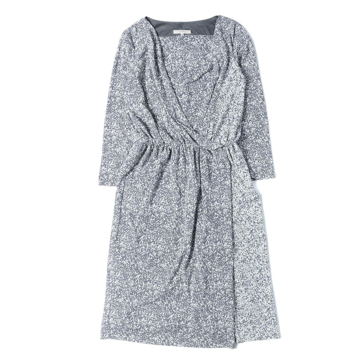 EPOCA エポカ アブストラクトプリント カシュクール ドレス ワンピース グレー 38(M) 【レディース】【中古】【美品】【K2552】