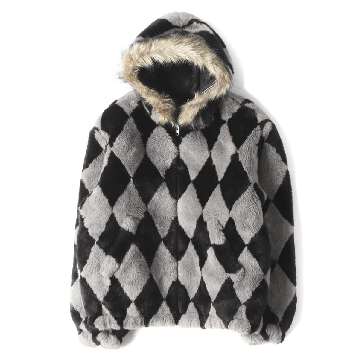 Supreme シュプリーム ジャケット 18AW ダイヤモンド柄 フェイクファー ジャケット Diamond Faux Fur Jacket グレー×ブラック 【メンズ】【美品】【中古】【K2552】