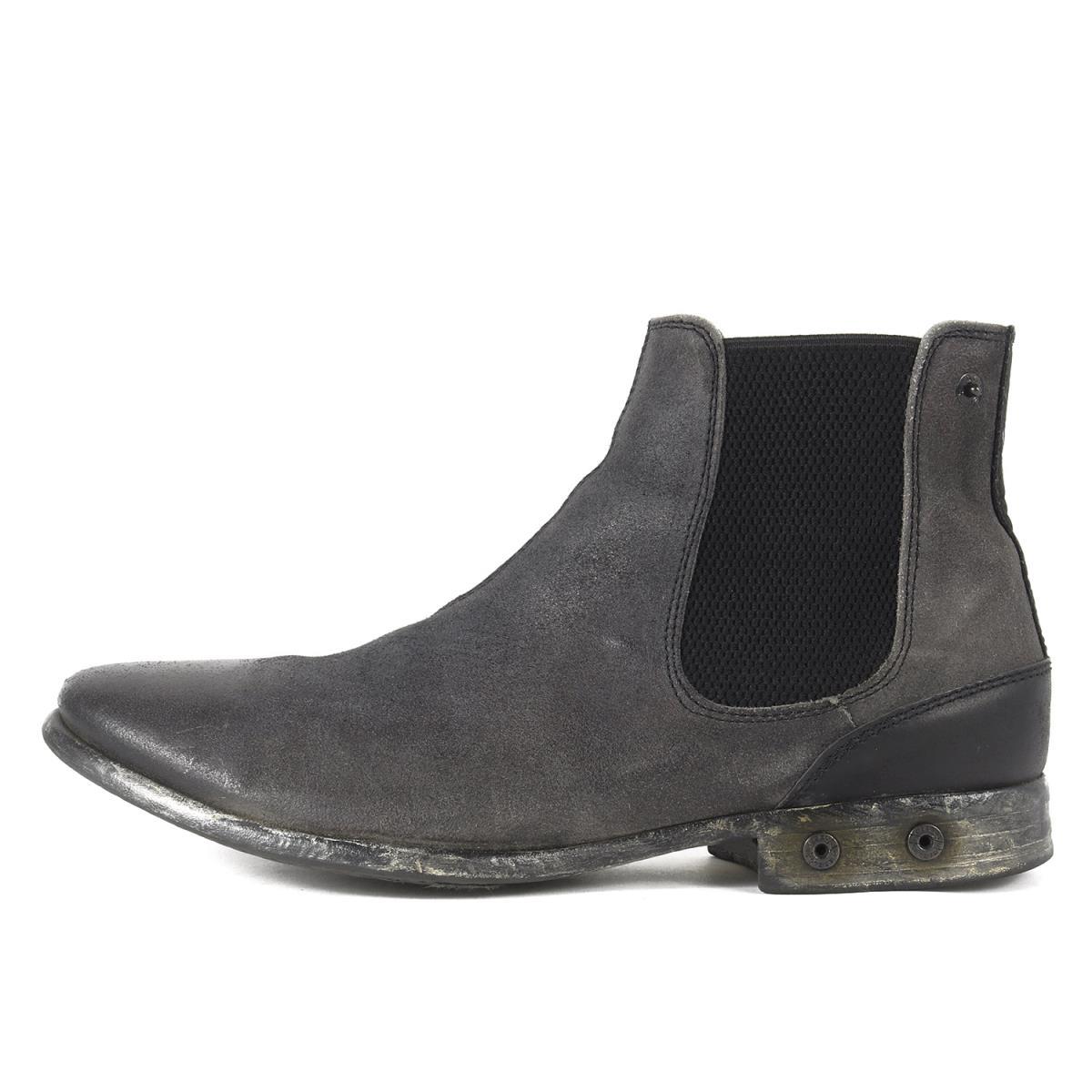DIESEL ディーゼル ブーツ ヴィンテージ加工レザーサイドゴアショートブーツ ウォッシュドブラック 42 【メンズ】【中古】【K2553】