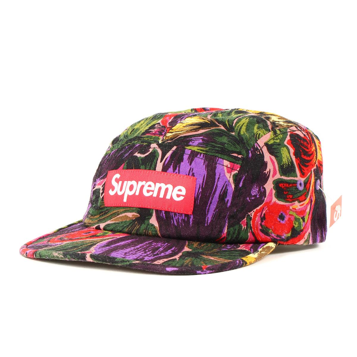 Supreme シュプリーム キャップ フローラル BOXロゴ キャンプキャップ Painted Floral Camp Cap 17AW パープル 【メンズ】【K2607】
