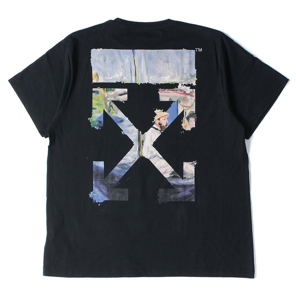 OFF-WHITE オフホワイト Tシャツ 絵画柄 ダイアログアロー ビックサイズ Tシャツ Diag Arrows Tee 19SS ブラック L 【メンズ】【中古】【K2565】