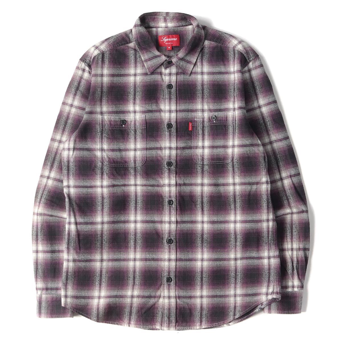 Supreme シュプリーム シャツ オンブレチェック フランネル シャツ Ombre Flannel Shirt 09AW パープル M 【メンズ】【中古】【K2572】