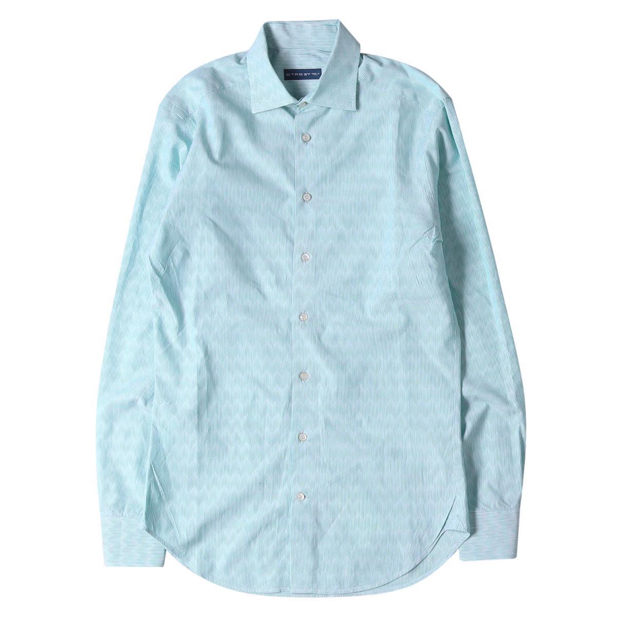 ETRO エトロ シャツ ギザギザストライプ コットン ボタン シャツ イタリア製 ブルー×ホワイト 37 【メンズ】【美品】【中古】【K2577】