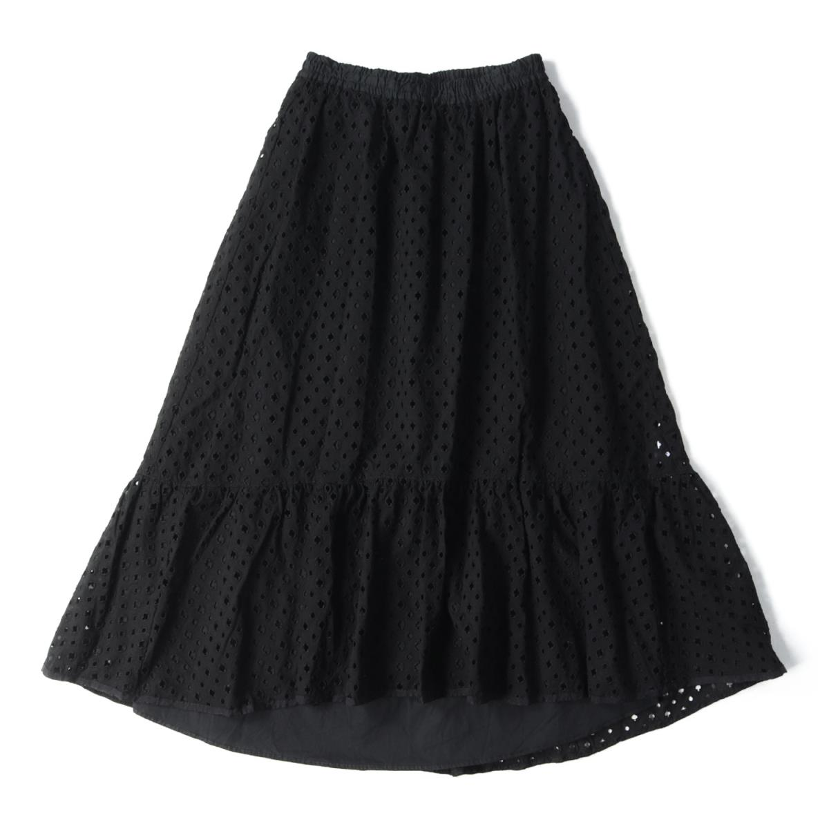 1/2 Un-Demi アンドゥミ スカート コットン カットワークレース 刺繍 スカート ブラック 38 【レディース】【中古】【美品】【K2584】