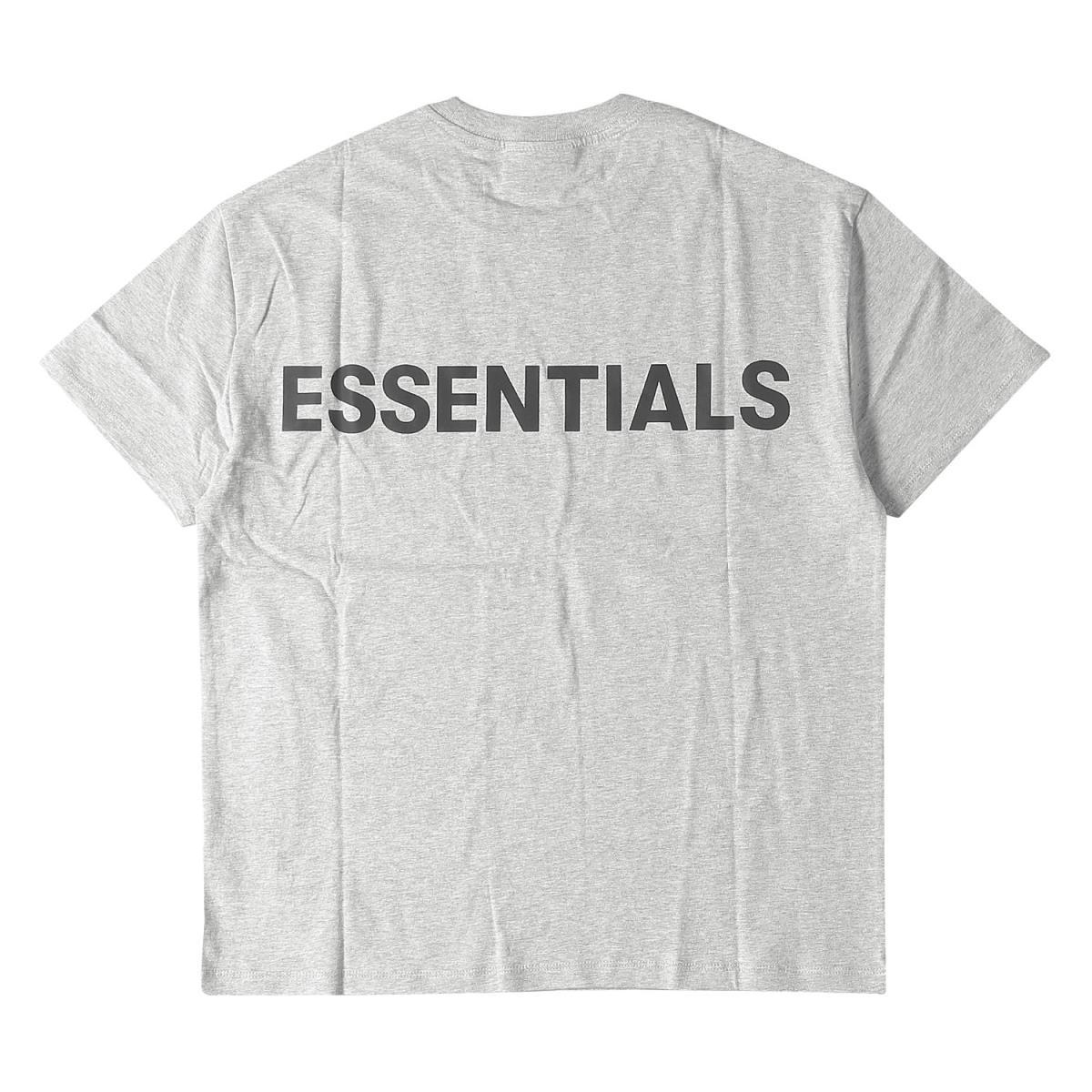 FEAR OF GOD フィアオブゴッド Tシャツ バック リフレクター ロゴ クルーネック Tシャツ Boxy T-Shirt FOG ESSENTIALS 19AW ヘザーグレー ブラックリフレクティブ XS 【メンズ】【K2586】