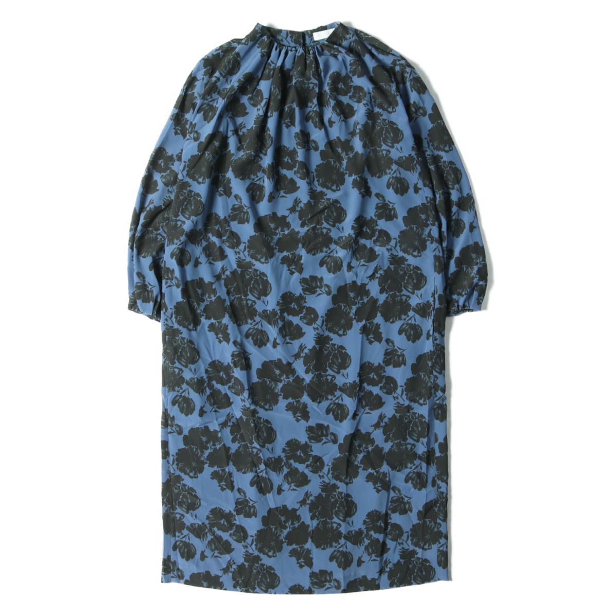 Ballsey ボールジィ ワンピース 花柄 ベルト付き ワンピース 20春夏 ブルー×ブラック 36(9号) 【レディース】【K2592】