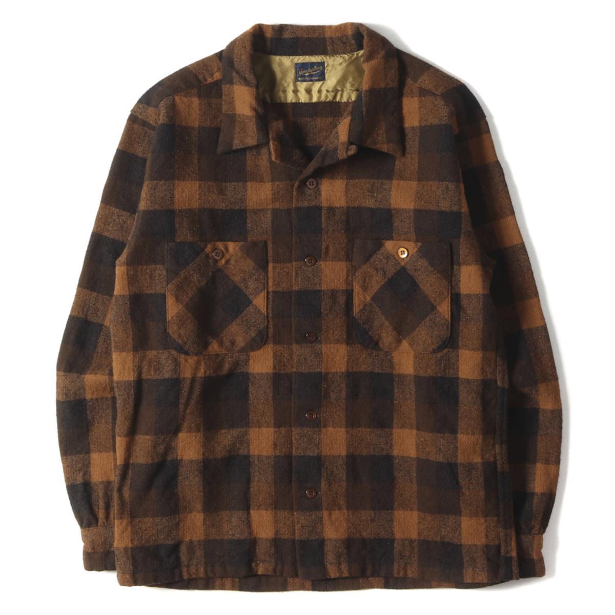 TENDERLOIN テンダーロイン シャツ オープンカラー チェック ウールシャツ T-WOOL SHT P オレンジ M 【メンズ】【中古】【美品】【K2592】