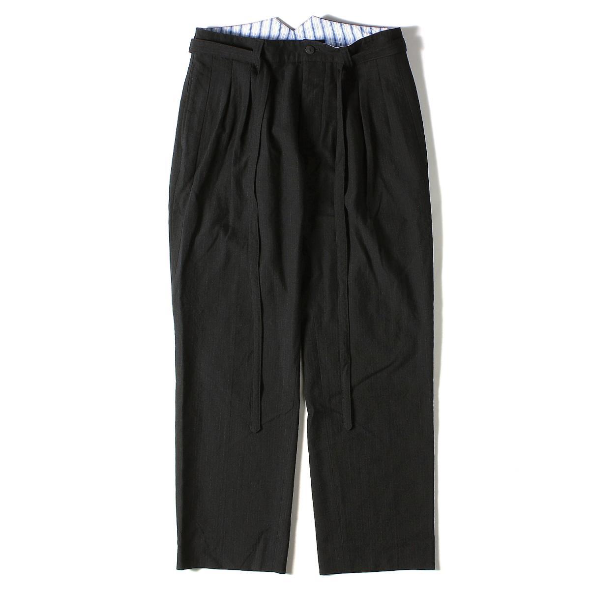visvim ヴィズビム パンツ ウール ストライプ ハカマ パンツ HAKAMA PANTS BANDED WOOL STRIPE 16AW ブラック 3 【メンズ】【中古】【美品】【K2595】