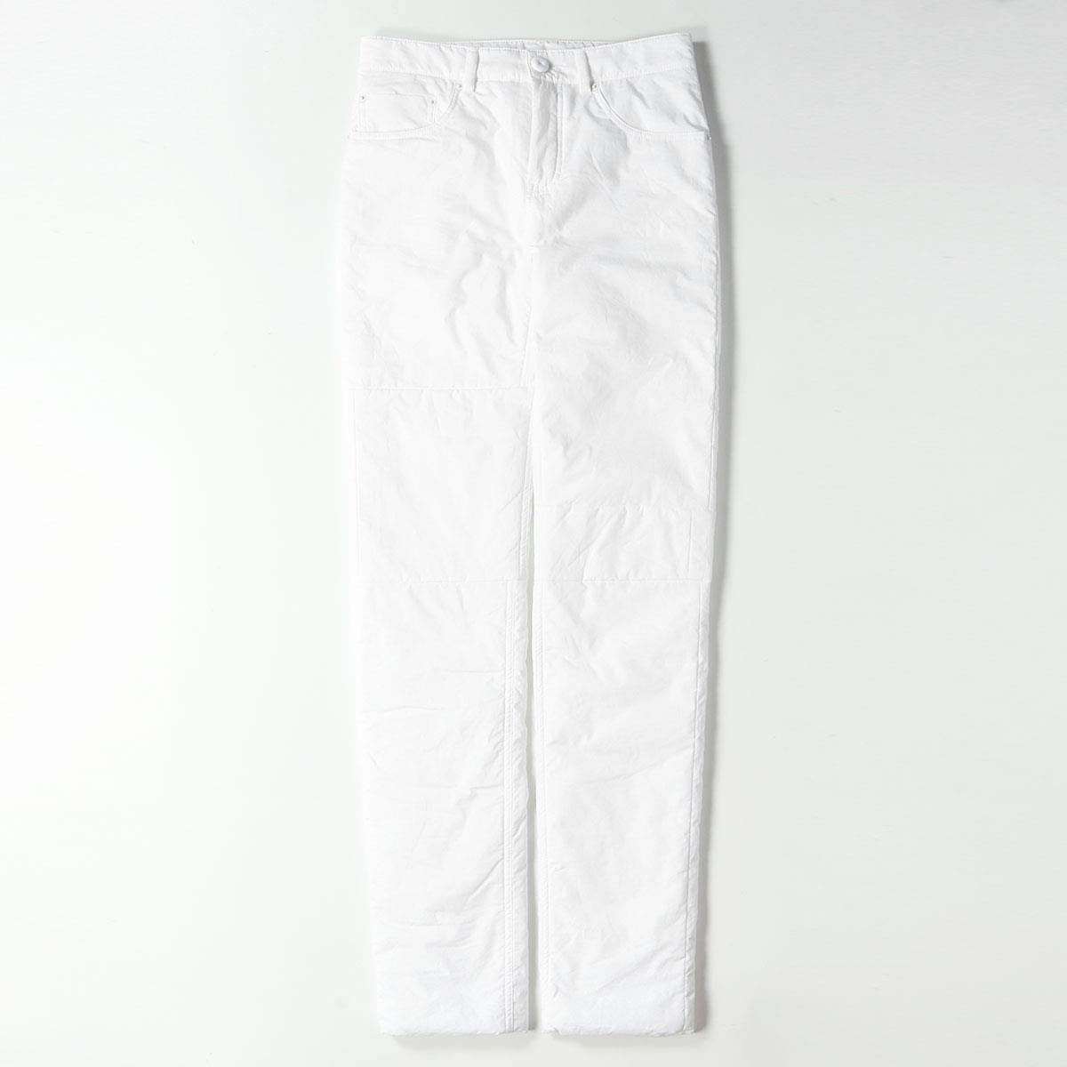 MM6 Maison Margiela エムエムシックス メゾンマルジェラ) Padded Pants in White FW19 イタリア製 5ポケット パンツ ストレート 中綿 ホワイト 40 【レディース】【中古】【美品】【K2604】
