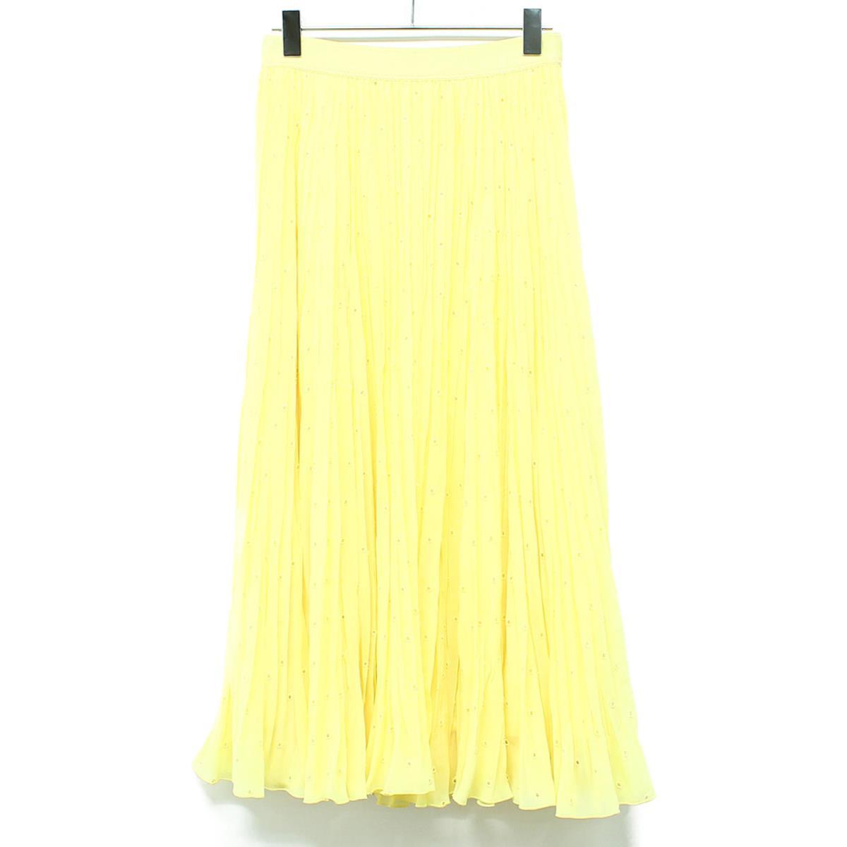 ANAYI アナイ スカート ドット 刺繍 プリーツ スカート 日本製 20春夏 イエロー 36 【レディース】【中古】【美品】【K2605】