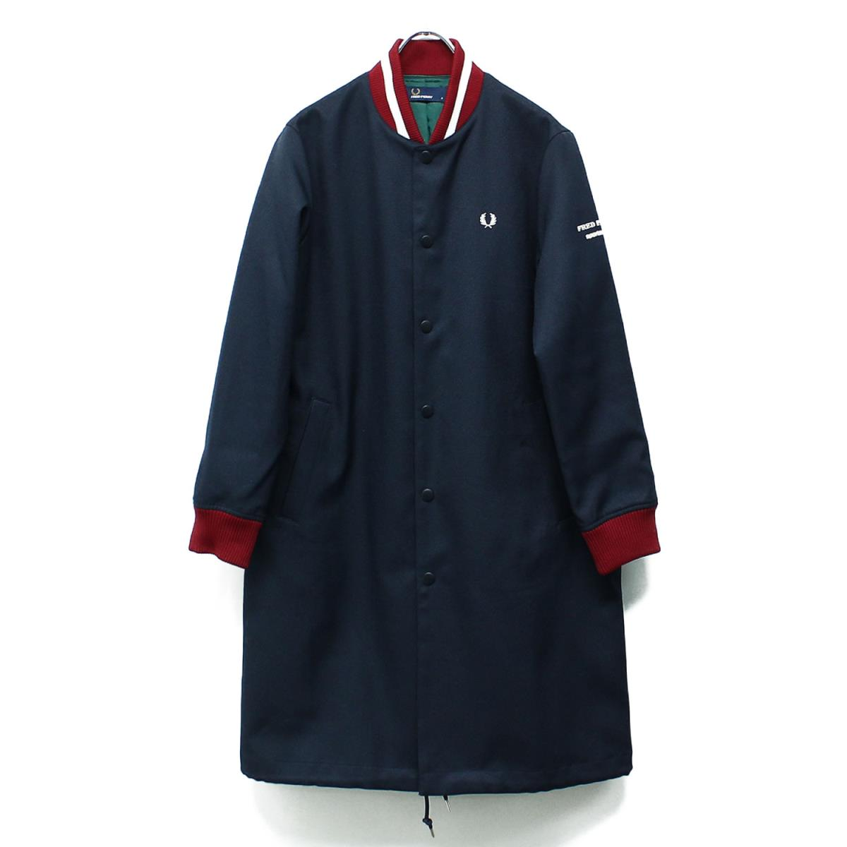 FRED PERRY フレッドペリー コート BOMBER COAT ボンバー コート F6287 19春夏 ネイビー 8 【レディース】【中古】【新品同様】【K2605】