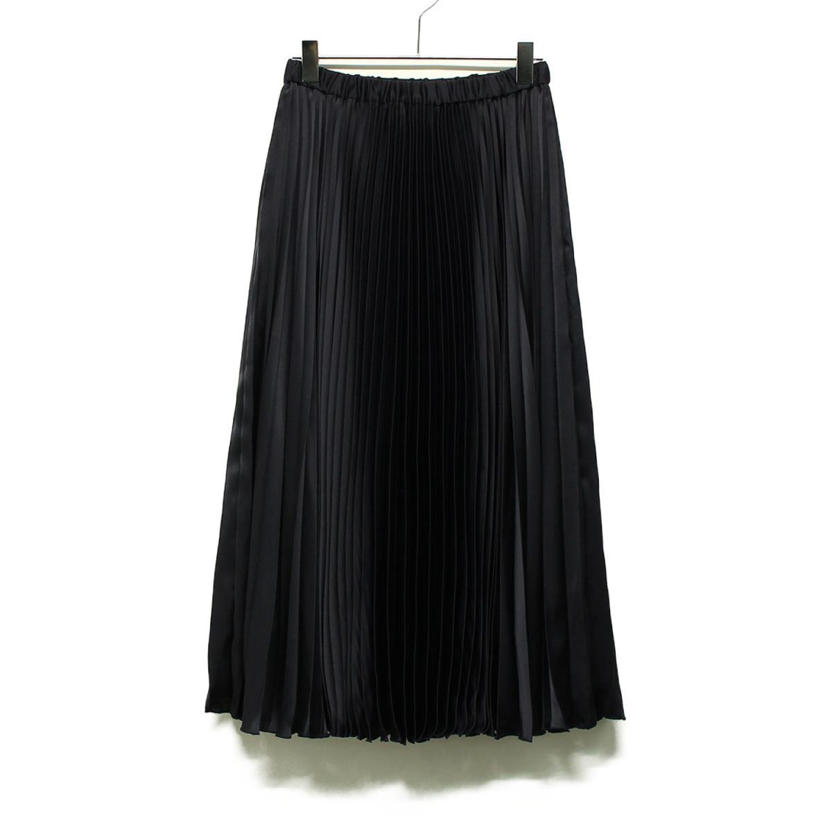 UNITED ARROWS ユナイテッドアローズ サテン アコーディオン プリーツスカート ネイビー 36(S) 【レディース】【中古】【K2607】