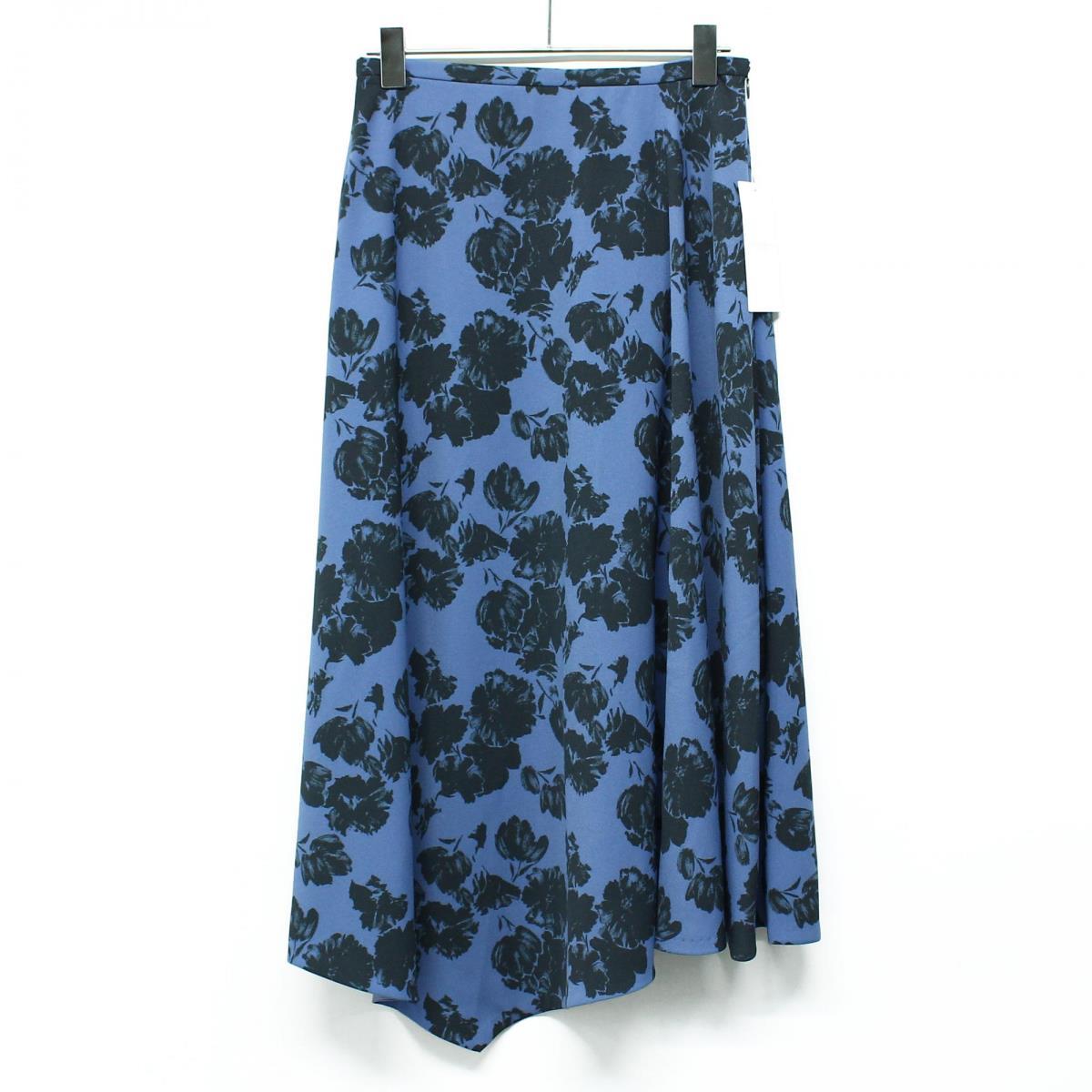 TOMORROWLAND トゥモローランド スカート フラワープリント アシンメトリー フレアスカート 20春夏 ブルー×ブラック 34(7号) 【レディース】【K2608】