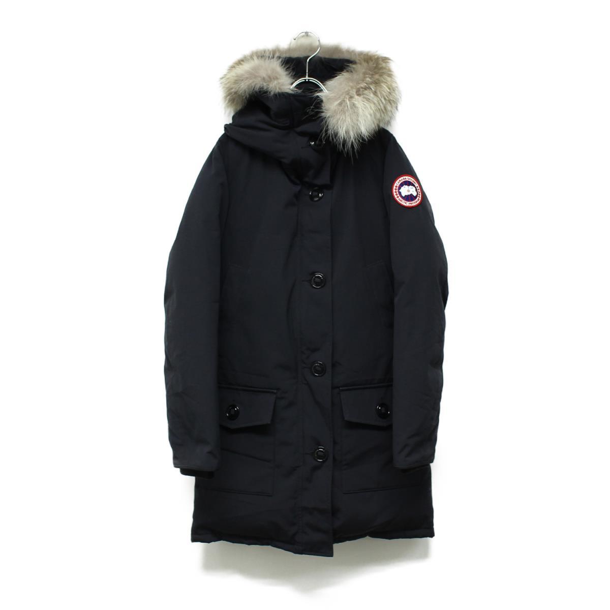 CANADA GOOSE カナダグース ブロンテ BRONTE PARKA フード ダウン コート ジャケット ネイビー S 【レディース】【中古】【K2624】