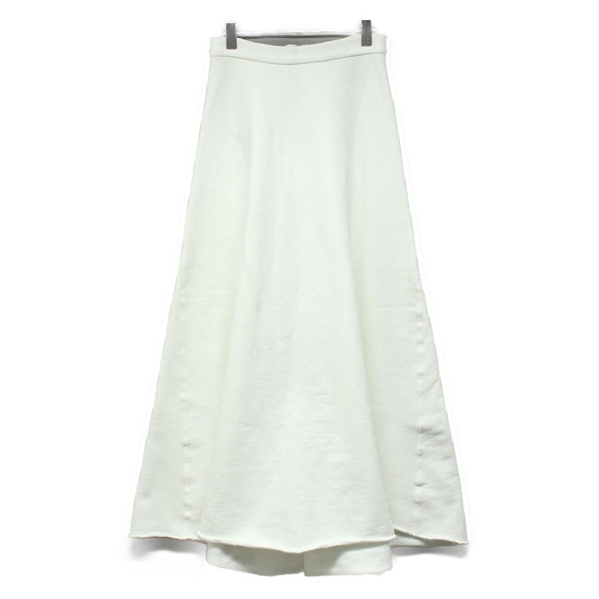 ATON エイトン スウェット フレア ロングスカート GAMENT DYE URAKE ホワイト 2 【レディース】【K2624】