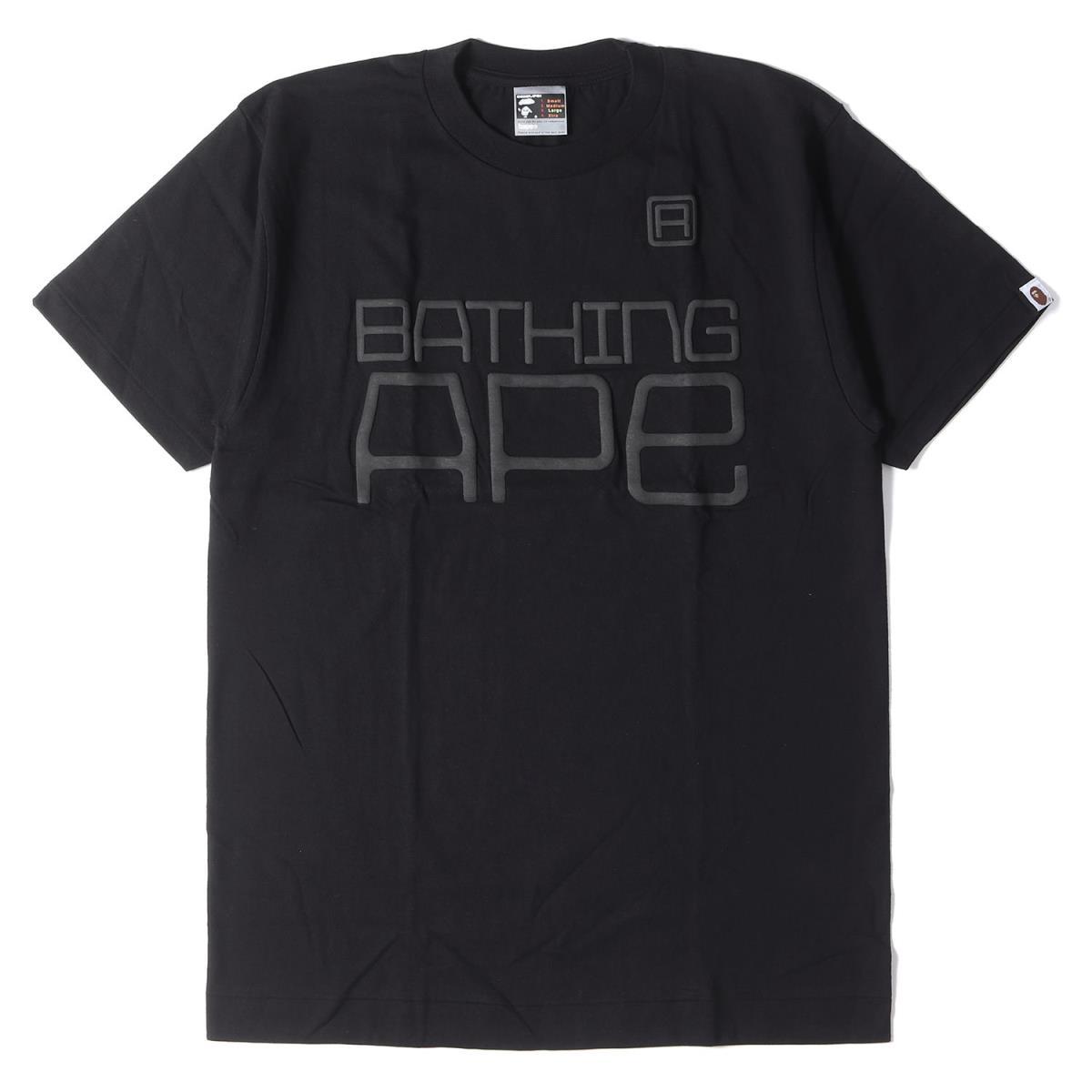 ベイシング エイプ Tシャツ クルーネック APE 有名な 発泡 プリントロゴ 新品同様 中古 L 00s ☆送料無料☆ 当日発送可能 K3034 ブラック メンズ