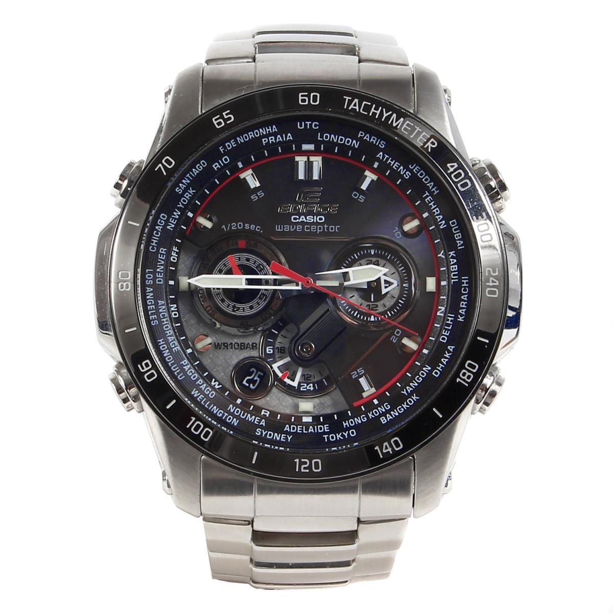 CASIO カシオ エディフィス タフソーラー 電波腕時計 / ウォッチ EDIFICE EQW-M1000D シルバー ブラック文字盤 【メンズ】【中古】【美品】【K2781】