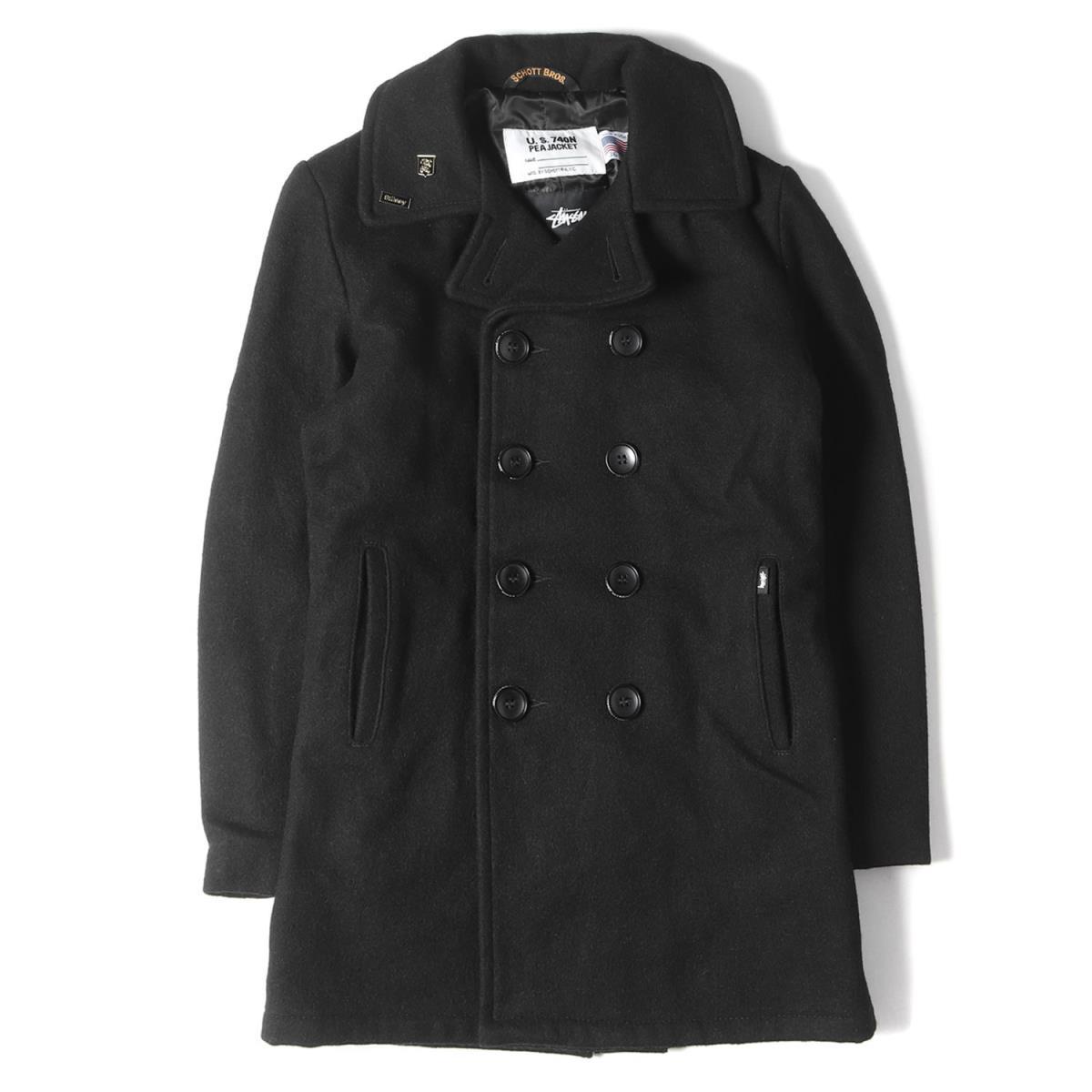 ステューシー ショット Pコート  STUSSY ステューシー コート Schott メルトン ウール Pコート ブラック 36(S) 【メンズ】【中古】【K2830】