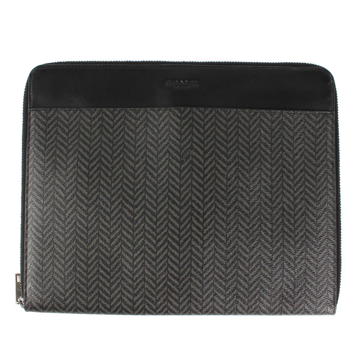 コーチ 供え iPadケース タブレットケース COACH 総柄PVCレザータブレットケース 美品 新品 送料無料 中古 メンズ チャコール×ブラック K2842