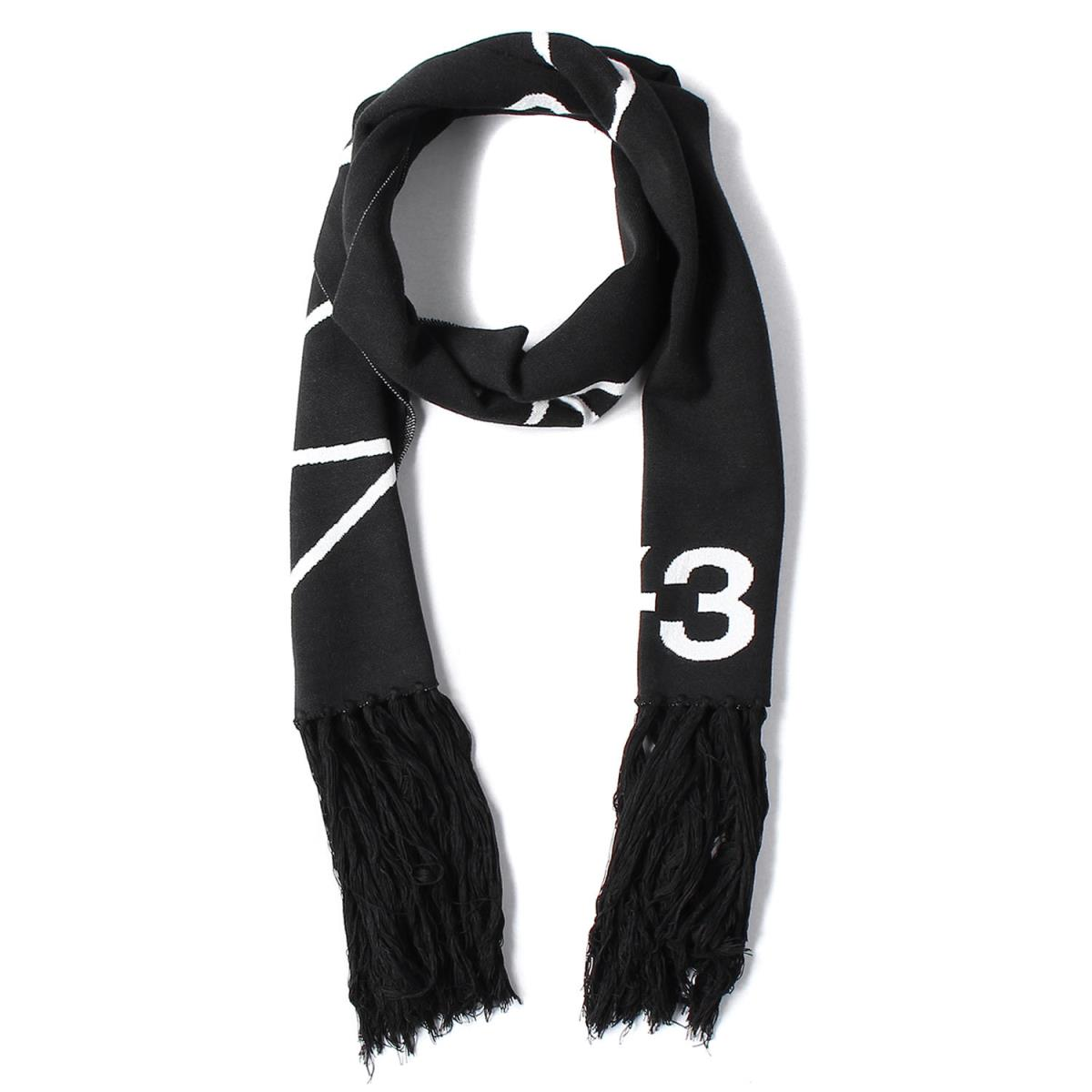 ワイスリー ポリレーヨンマフラー スカーフ Y-3 マフラー スーパーセール 18AW フリンジ メッセージロゴ SCARF SLOGAN 美品 メンズ 超歓迎された ブラック×ホワイト K2872 中古