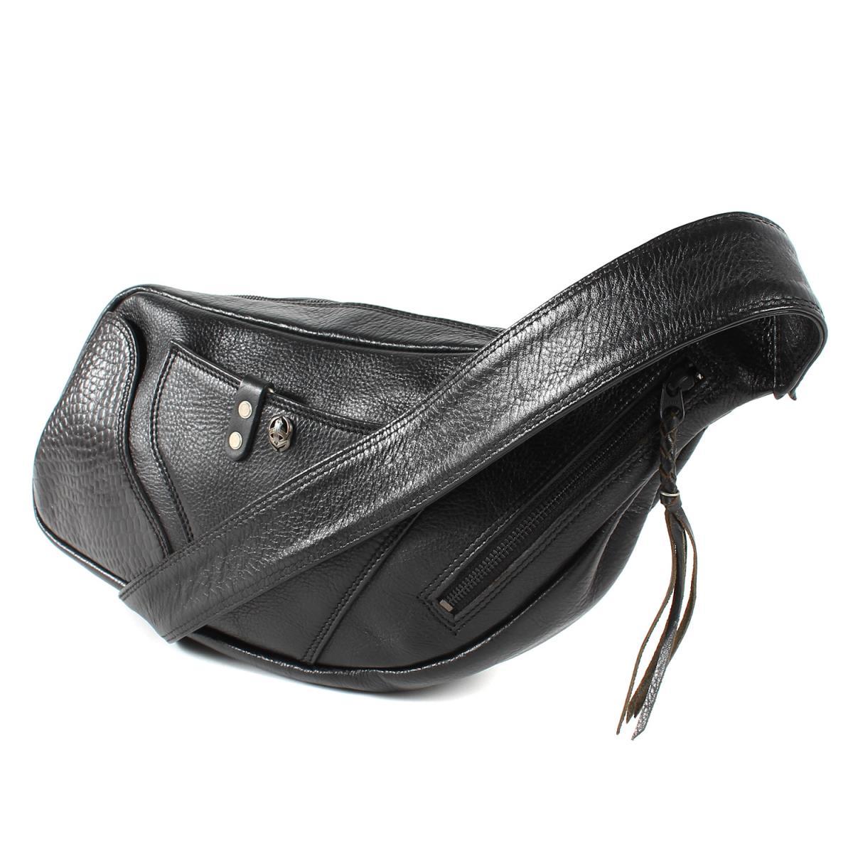 ピースメーカー 激安特価品 クロコ型押し ボディーバッグ デポー PEACE MAKER バッグ 中古 レザー切替 ブラック K2878 メンズ