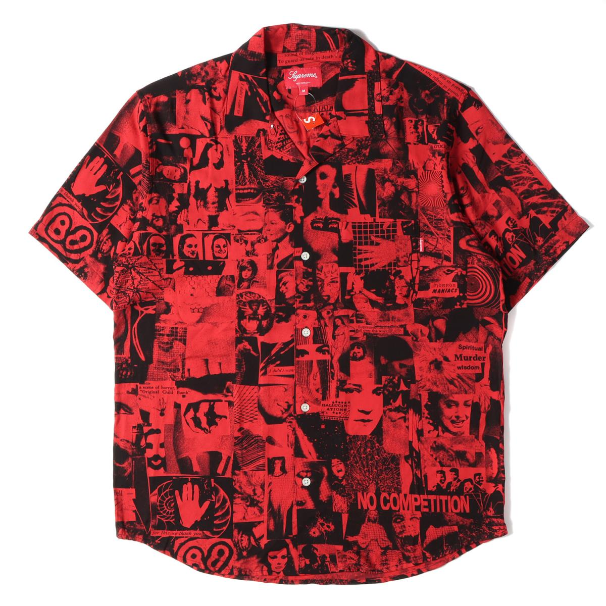 シュプリーム 人気激安 シャツ 半袖 レーヨン フォトコラージュ オープンカラー 開襟 全国一律送料無料 Supreme フォトコラージュ柄 Rayon 半袖シャツ メンズ 18SS Vibrations K3026 レッド M Shirt