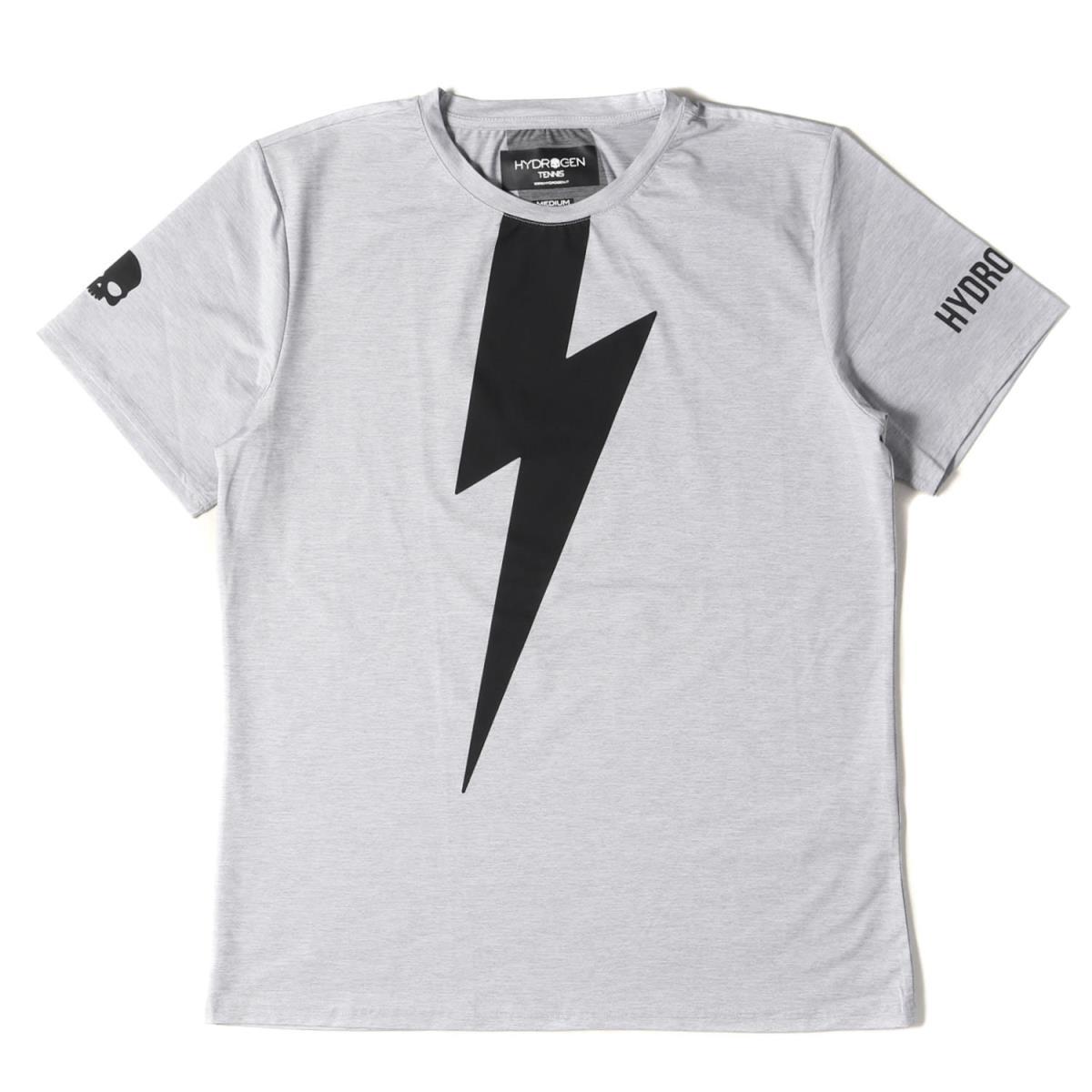ハイドロゲン Tシャツ サンダー プリント ストレッチ クルーネック HYDROGEN グレー ビッグサンダー メンズ 超目玉 商舗 TENNIS M K3024