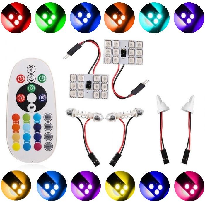16色発光 リモコン操作 多機能LED RGB ルームランプ AL完売しました SMD 12発 送料無料 汎用 40%OFFの激安セール T10×31 T10×37 発光パターン切り替え リモコン付き マルチタイプ T10