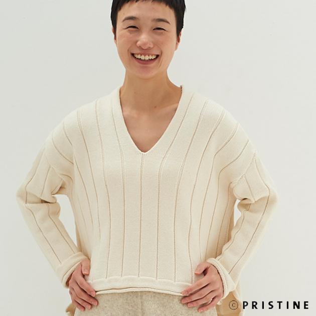 【送料無料】オーガニックコットン プリスティン PRISTINE ワイドリブ セーター サービスプラン 419568(開封後返品不可商品)オーガニック 綿 肌に優しい トップス コットン