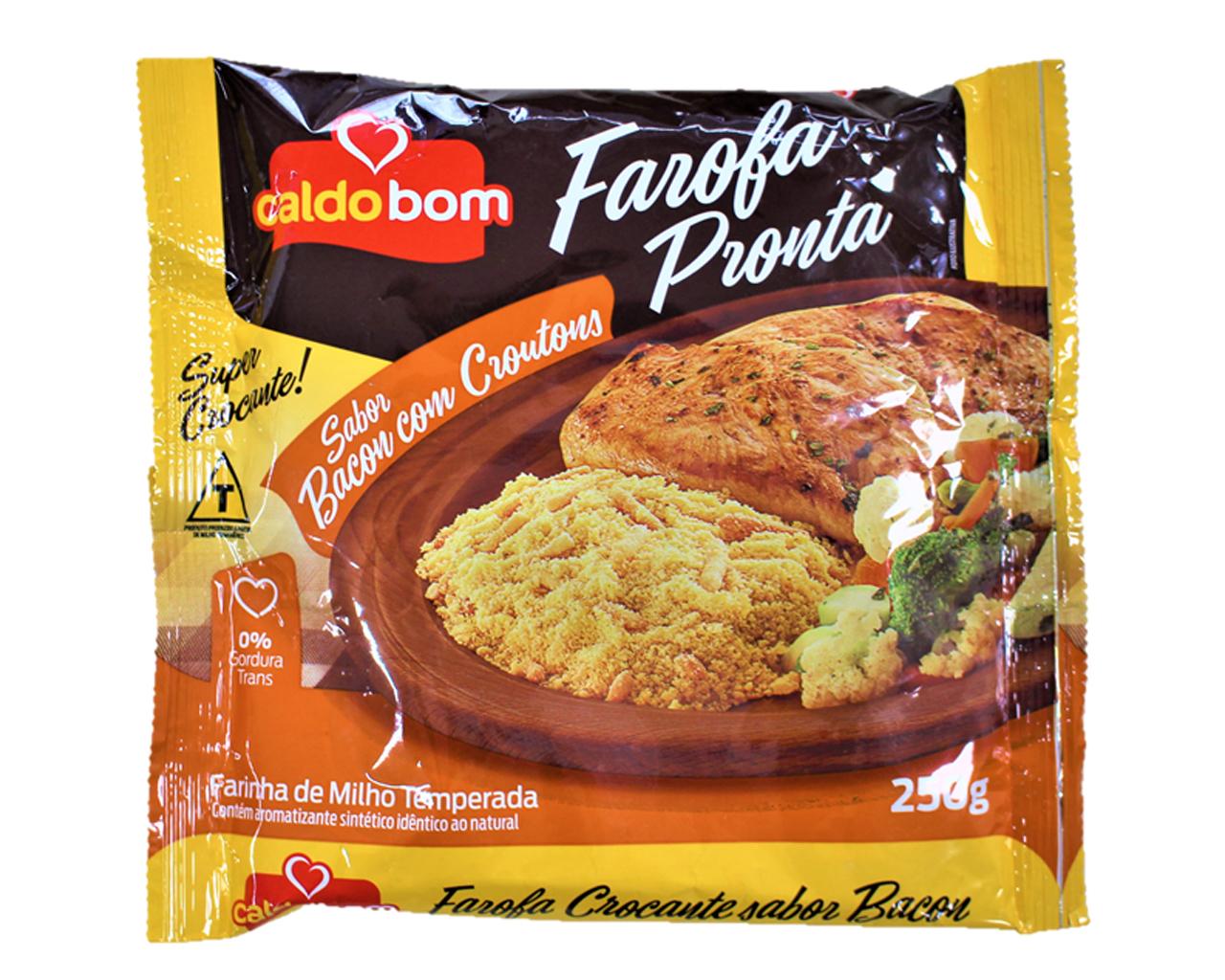 ブラジル料理や煮込み料理に欠かせない Farofa Pronta sabor Bacon Croutons トウモロコシ加工食品 caldo ランキングTOP5 bomファロッファ メーカー公式 ベーコン味 250gブラジル調味料