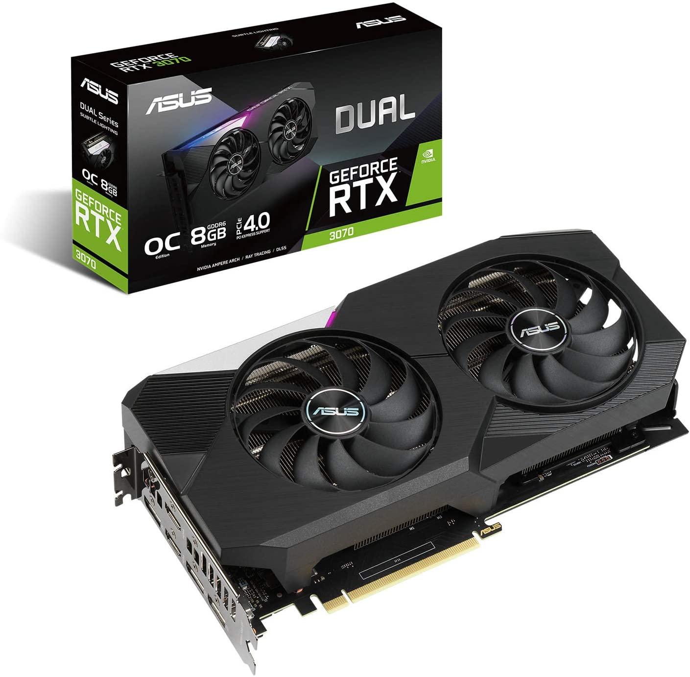 NVIDIA 絶品 GeForce RTX 3070 2020新作 ASUS エイスースー 搭載 DUAL-RTX3070-O8G グラボ ギガバイト グラフィックボード デュアルファンモデル ビデオカード 8G
