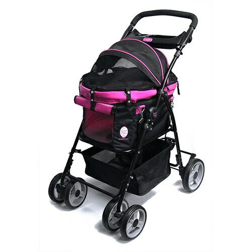 多機能ペットカート ディア-スイートハートカート ブラック/ピンク 犬 猫 ペット用 バックのみでも使用可能