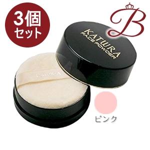 【×3個】カツウラ フェイスパウダー ピンク 40g (パフ付)