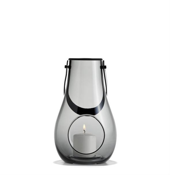 ランタン テーブルランプHOLMEGAARD ホルムガードDESIGN WITH LIGHT Lantern ランタン スモーク (M) H25cm キャンドルホルダー 4343535 吹きガラスステンレス蓋付き ローゼンダール 北欧 ギフト