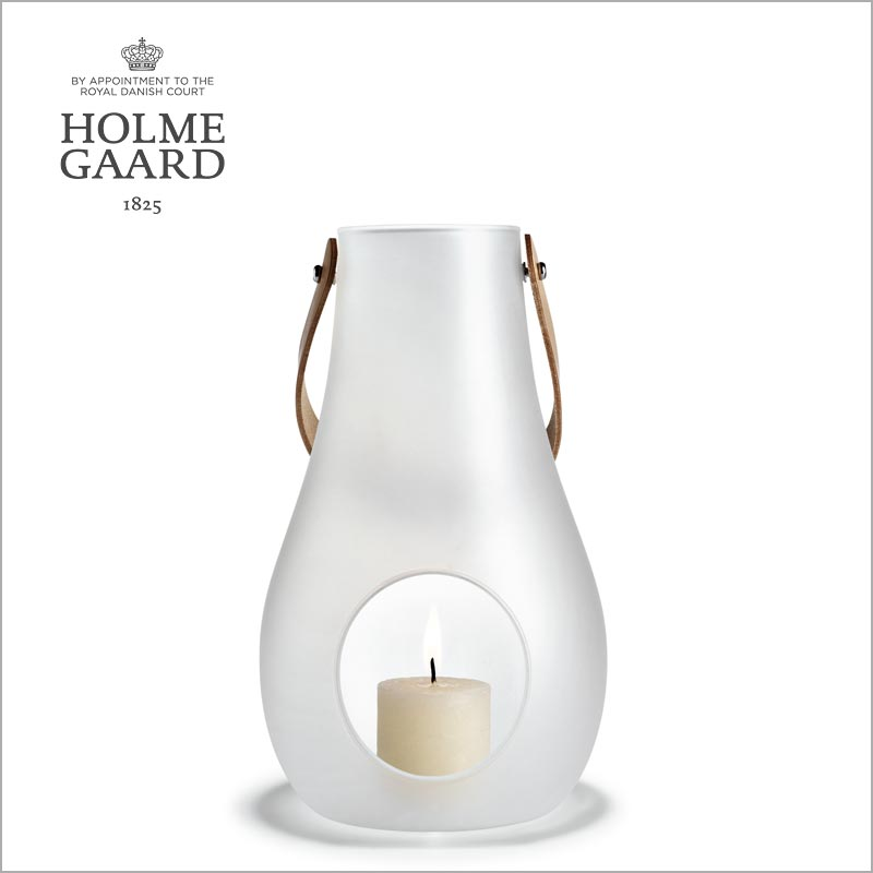 キャンドルホルダー ガラスHOLMEGAARD ホルムガードDESIGN WITH LIGHT Lantern White (M) H24,8cm ランタン フロストキャンドルホルダー #4343507 吹きガラスステンレス蓋付き ローゼンダール 北欧