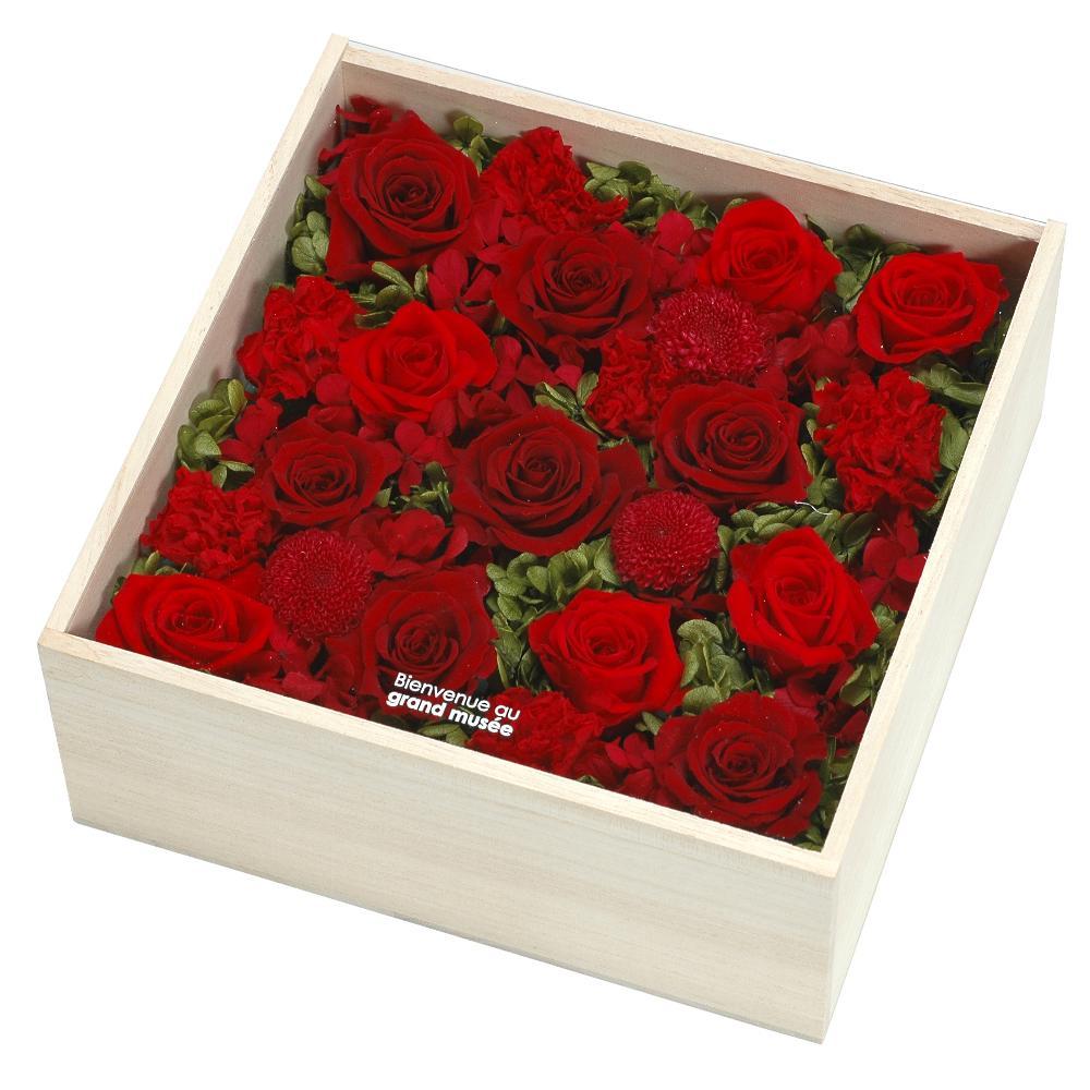 grand musee プリザーブドフラワー[ウッドボックス] LLサイズ レッド PFW-LL-001母の日 ギフト プレゼント