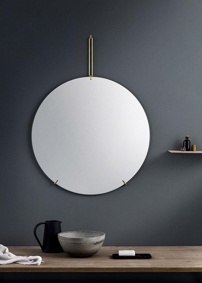 ウォールミラー ムーベMOEBE WALL MIRROR 直径70cm Brass WMBR70 ブラス鏡 壁掛け フレームレス 北欧