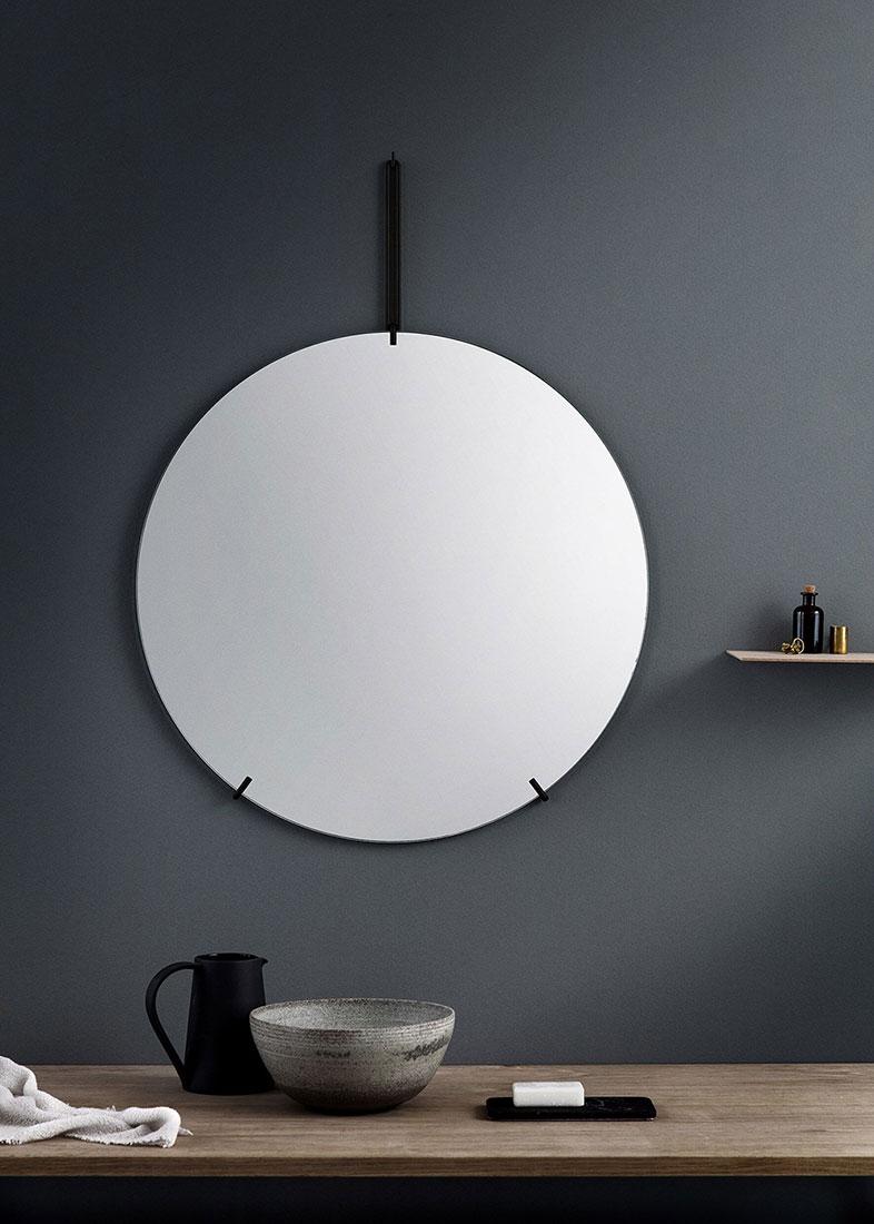 ウォールミラー ムーベMOEBE WALL MIRROR 直径70cm Black WMBL70 ブラック鏡 壁掛け フレームレス 北欧