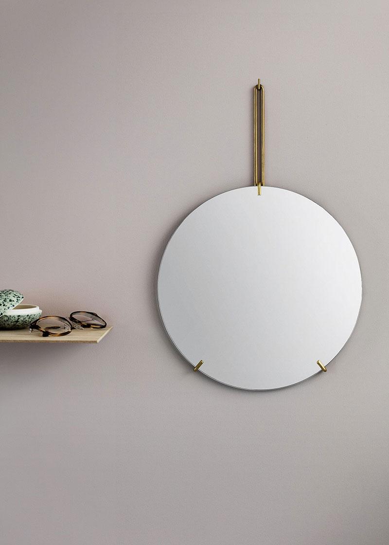 ウォールミラー ムーベMOEBE WALL MIRROR 直径50cm Brass WMBR50 ブラス鏡 壁掛け フレームレス 北欧