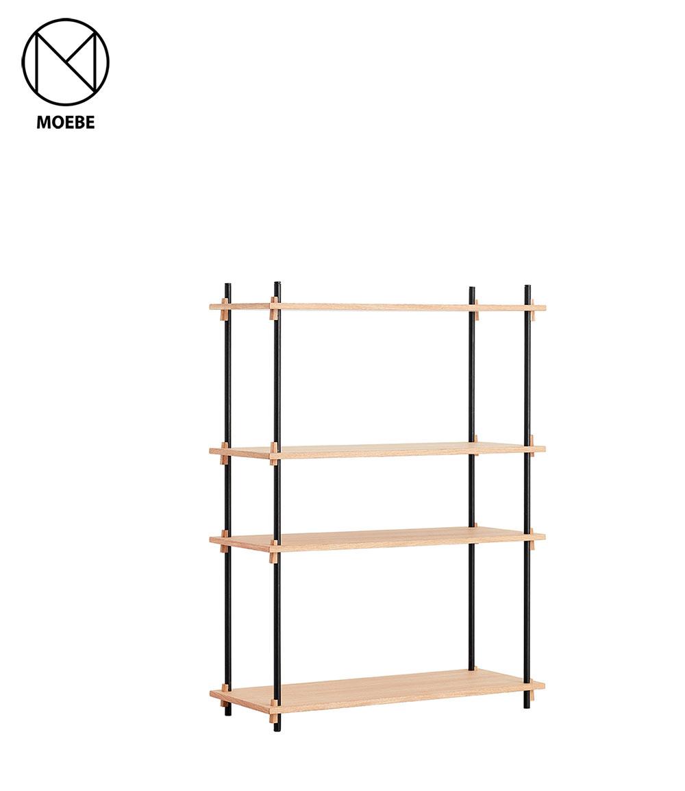 棚 北欧 家具 雑貨 シェルビングシステム ムーベ MOEBE SHELVING SYSTEM シングル 高さ115cm 2色 SSO115SET / SSBL115SET