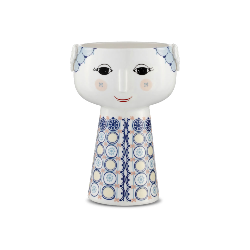 日本正規代理店品 Bjorn Wiinblad 花瓶 北欧雑貨 あす楽 ビヨン ヴィンブラッド フラワーベース EVA VASES デンマーク 未使用 ベース H18cm お得セット ブルー ギフト おしゃれ 56511北欧 エバ 無料ラッピング 56511 blue