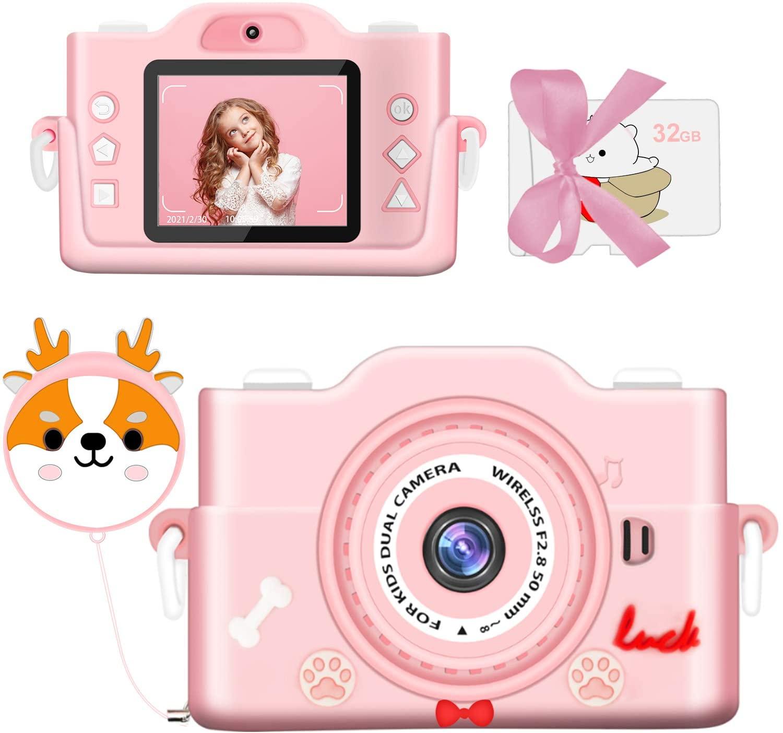 2021最新版 子供カメラ 子ども用デジタルカメラ 本日の目玉 トイカメラ 7000万画素 1080P 高画質 タイマー撮影 自撮可能 HD録画 pink ゲーム機能付き USB充電 子供プレゼント 子供のおもちゃ 年齢制限6+ 8倍ズーム MP3 32GBメモリーカード付き お得セット