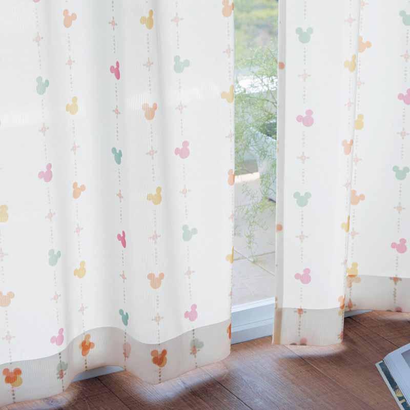 【Disney】ディズニー UVカット・遮熱・遮像レースカーテン 「オレンジマルチ」 約130×176(2枚) リビング 寝室 子供部屋 おしゃれ デザイン かわいい