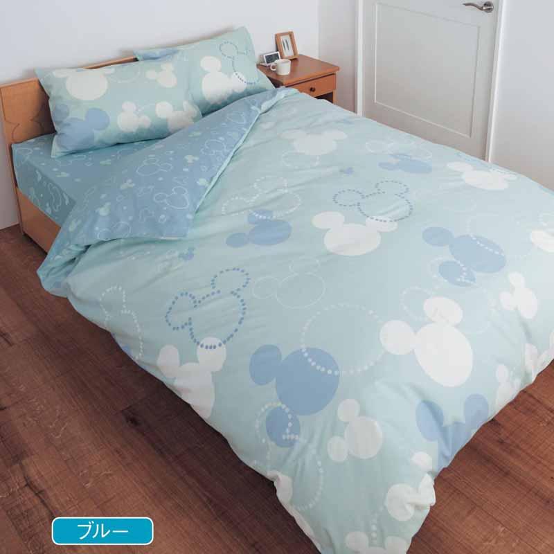 【Disney】ディズニー 綿100%の布団カバー3点セット 「ブルー」 洋式ダブル 寝具 布団 ベッド カバー セット 掛け敷き 掛け布団 3点 bed ファブリック