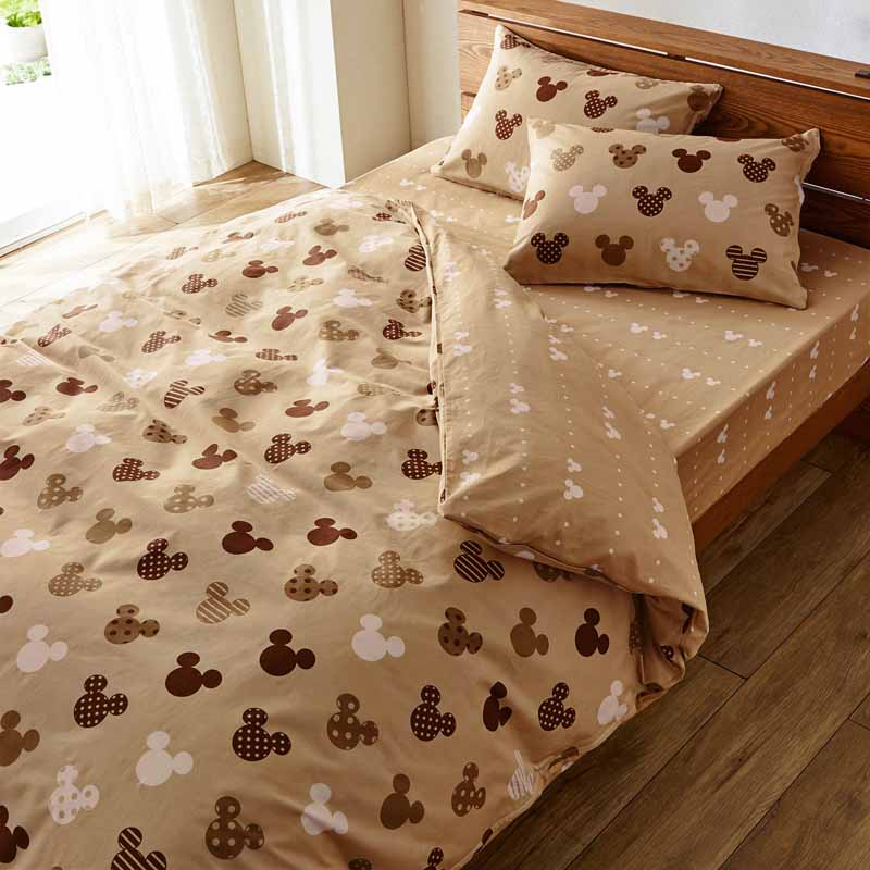 【Disney】ディズニー ダニを通しにくい綿100%布団カバー3点セット 「ベージュ」 洋式ダブル 寝具 布団 ベッド カバー セット 掛け敷き 掛け布団 3点 bed ファブリック