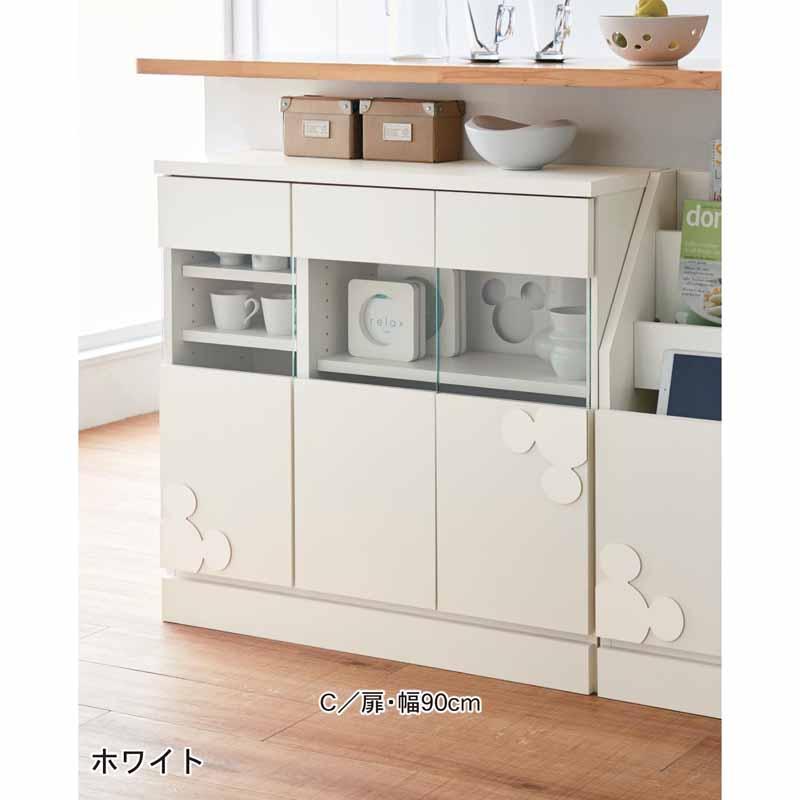 【Disney】ディズニー カウンター下キャビネット 「ホワイト」 A/チェスト・30 家具 収納 キッチン 食器 棚 ボード