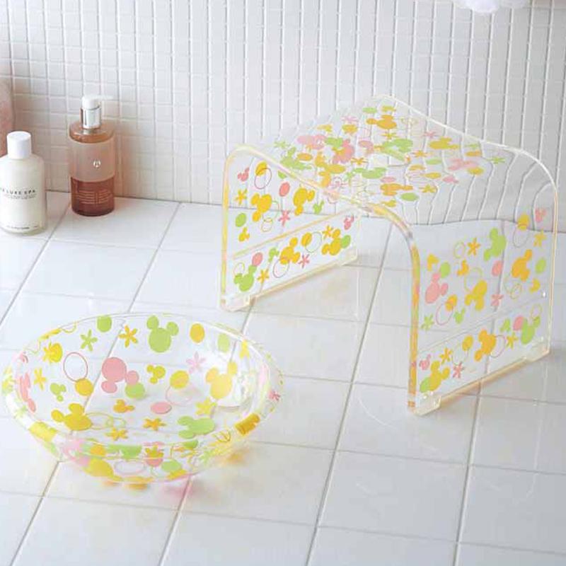 【Disney】ディズニー アクリルバスチェア&洗面器 ミッキーモチーフ(ドット) ミッキーモチーフ(サークル) バス 風呂 バスルーム 風呂椅子 風呂イス バスチェア