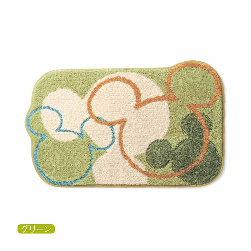 【Disney】ディズニー 洗えるふわふわ玄関マット 「グリーン」 約70×120 エントランス 入口 おしゃれ かわいい デザイン