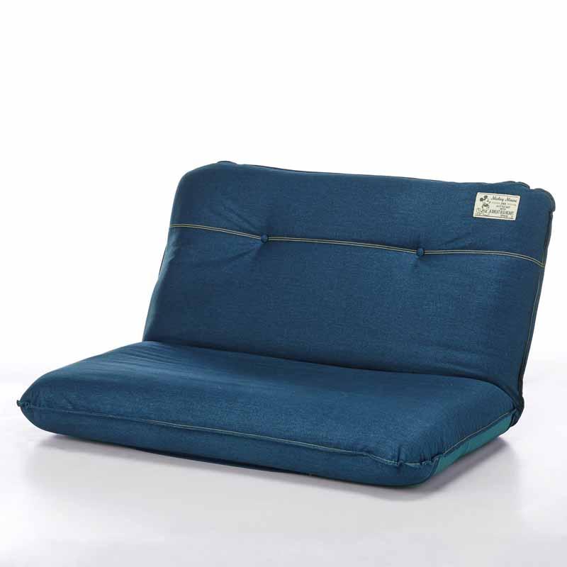 【Disney】ディズニー デニム調のボリューム座椅子 「ネイビー」 ワイド 家具 収納 座 椅子 いす