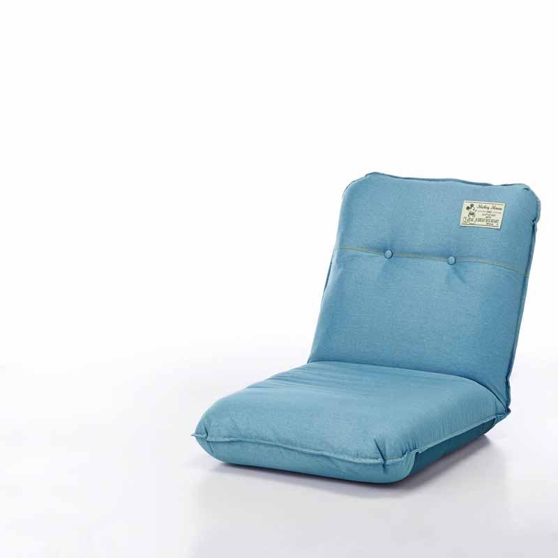 【Disney】ディズニー デニム調のボリューム座椅子 「ライトブルー」 スリム 家具 収納 座 椅子 いす